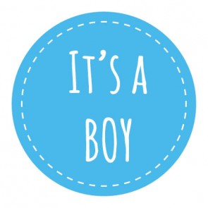 sluitsticker it's a boy blauw